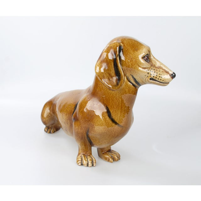 Italian Brown Glazed Ceramic Dog For Sale - Image 4 of 9