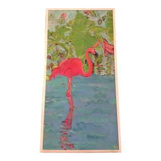 Original Vibrant Painting of Flamingo For Sale