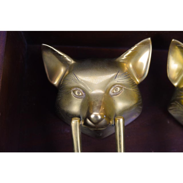 Vintage Bronze Fox Heads Door Knockers- A Pair For Sale - Image 4 of 11