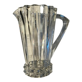 "Mid 20th Century Rosenthal Crystal Signed ""Blossom"" Cut-Crown Hand Blown Pitcher For Sale"