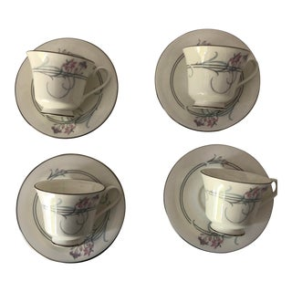 Vintage Royal Doulton Allegro Pattern Cups & Saucers S/4 For Sale