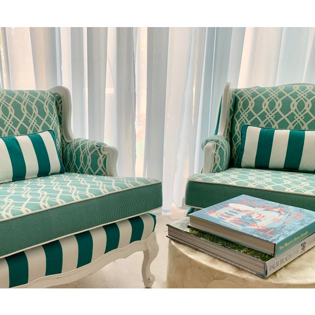 Fabric Hollywood Regency Cabana Striped Chairs - a Pair For Sale - Image 7 of 13