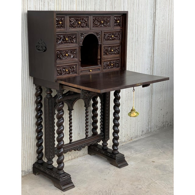 Baroque 18th Spanish Bargueno of Columns With Foot Bridge, Cabinet on Stand For Sale - Image 3 of 13