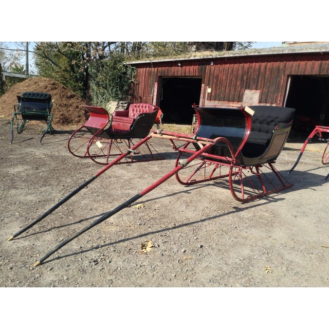 Beautiful square-back Portland Cutter sleigh. Black and maroon with gold  striping and black - Antique Portland Cutter Black & Maroon Sleigh Chairish