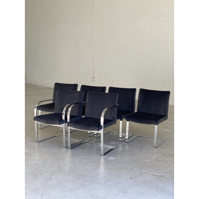 Mid-Century Modern Charcoal Velvet and Chrome Cantilever Chairs - Set of 6 For Sale - Image 4 of 9