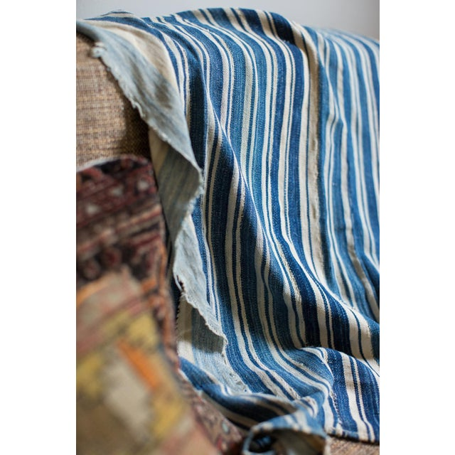 Vintage Hand Woven Indigo Stripe Throw For Sale In New York - Image 6 of 7