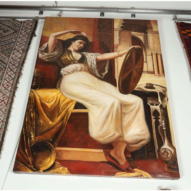 Canvas Large Orientalist Oil on Canvas For Sale - Image 7 of 7