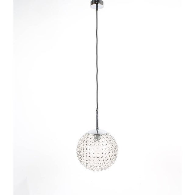 Staff Leuchten One of Five Bubble Glass Chrome Pendant Lamps by Staff, 1960 For Sale - Image 4 of 6