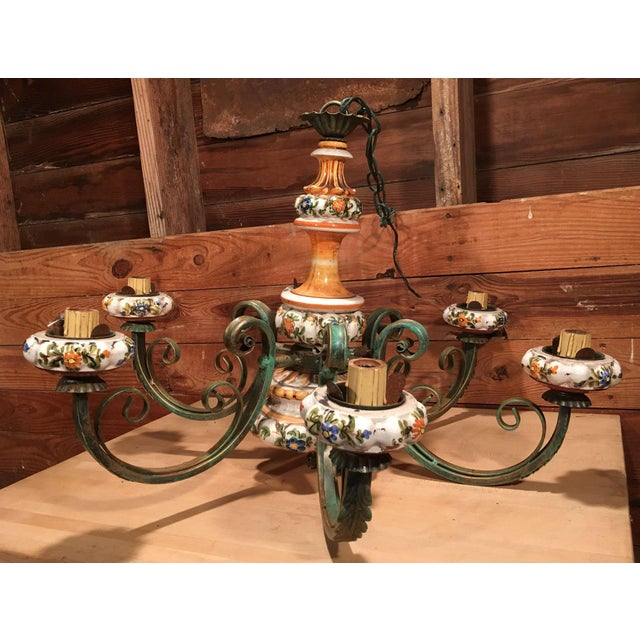 Country Vintage Italian Tole Painted Pottery Chandelier For Sale - Image 3 of 8