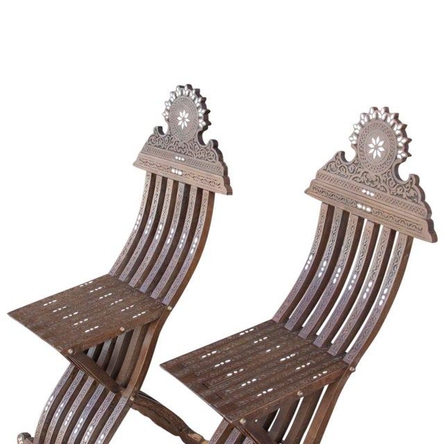Wood Vintage Mother Of Pearl Inlaid Chairs - Set of 2 For Sale - Image 7 of 7