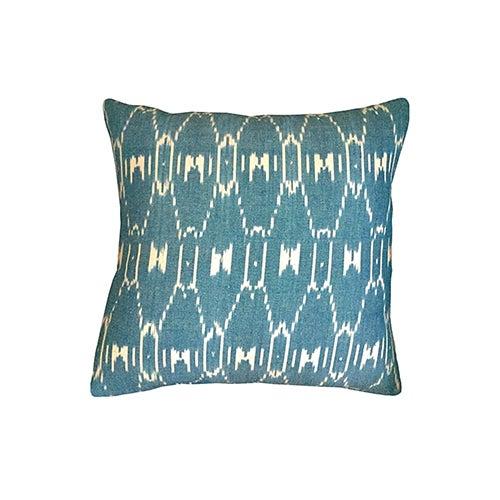 Boho Chic Kim Salmela Teal Ikat Pillow For Sale - Image 3 of 3
