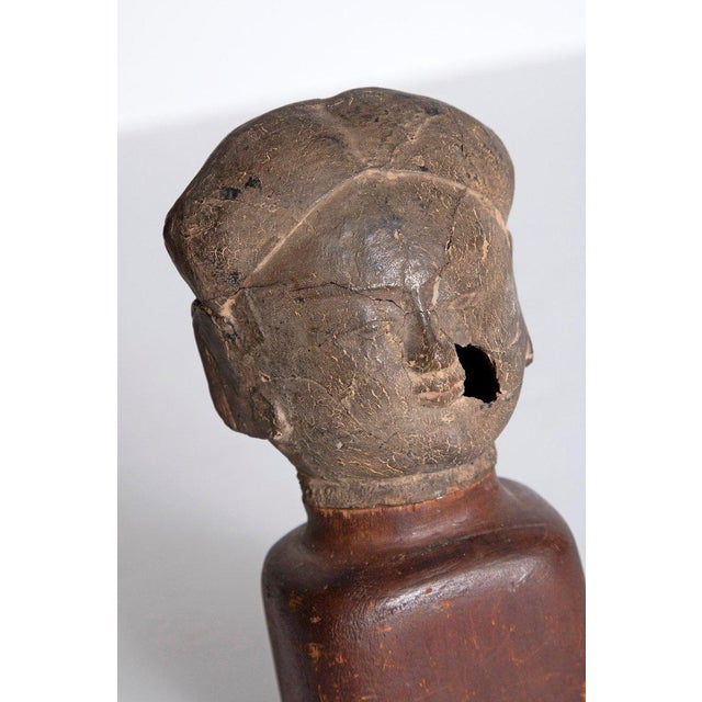 Asian Antiquity Clay Head on Wood Base For Sale - Image 9 of 13