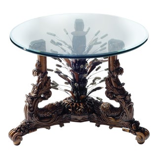 19th Century Art Nouveau Bronze and Walnut Center Table For Sale