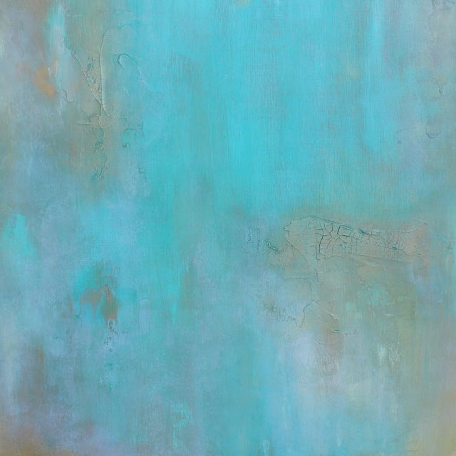 Original Abstract Modern Art Painting Atlantis Turquoise Textured Wood Artwork - Image 2 of 4