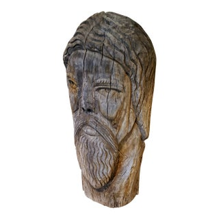 Vintage Folk Art Wood Carving Bust of Jesus