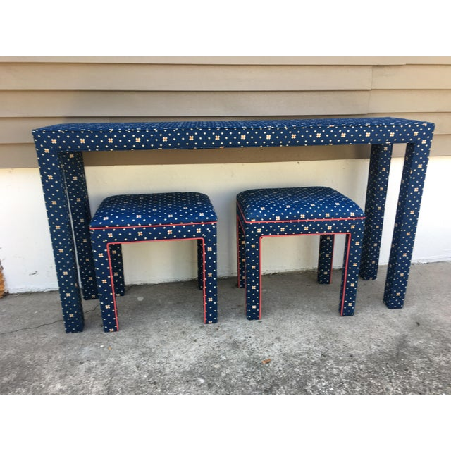 Glass 1970s Mediterranean Blue Upholstered Parsons Table With Matching Benches - 3 Pieces For Sale - Image 7 of 12