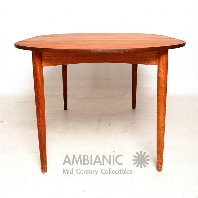 Teak Danish Modern Teak Round Oval Dining Table For Sale - Image 7 of 8