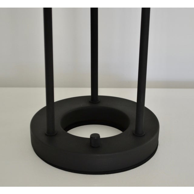 Postmodern Matte Black Table Lamp With Glass Disk For Sale In West Palm - Image 6 of 10