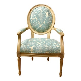 Transitional Port 68 French Style Turquoise Avery Arm Chair For Sale