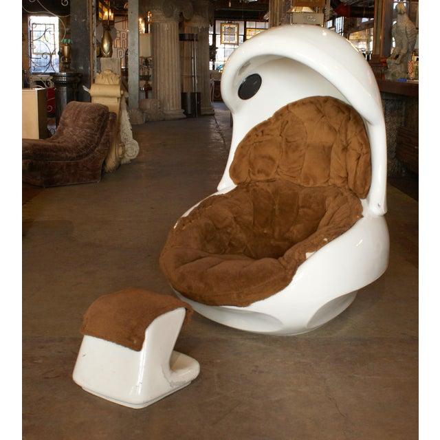 Venture Line Furniture Molded Plastic Atomic Egg Chair & Footstool ...