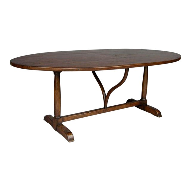 Custom Walnut Wood Oval Table With Wishbone Stretcher For Sale