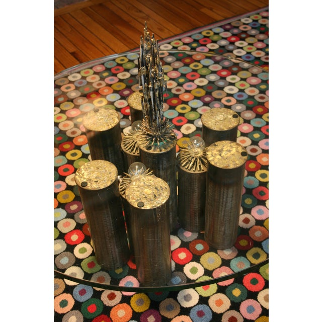 1970s E. Garfinkle Brutalist Coffee Table With Coordinating Chandelier For Sale - Image 5 of 13