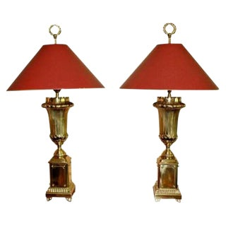 Pair of Chapman Art Deco Style Tall Brass Table Lamps Original Finials For Sale