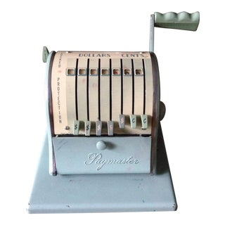 Mid-Century Turquoise Blue Metal Check Machine For Sale