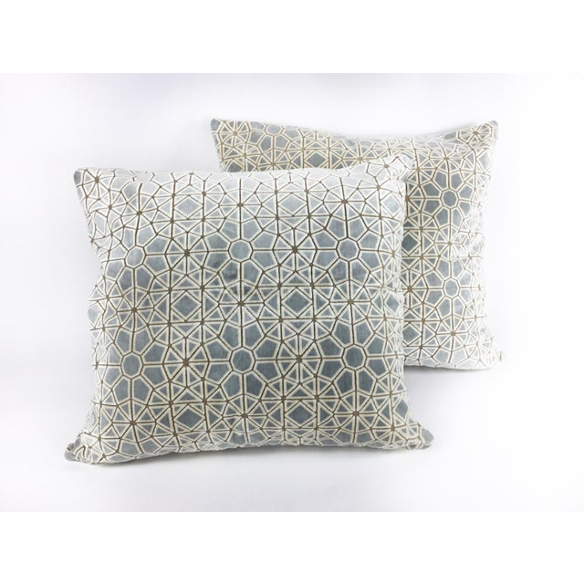 "Hollywood Regency Pollack's ""Cracked Ice"" Custom Designer Velvet Pillows - a Pair For Sale In Los Angeles - Image 6 of 8"