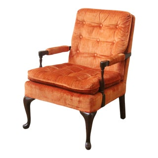 Vintage Mid Century Harden Orange Button Tufted Arm Chair For Sale