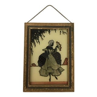 Antique 1920s Victorian Themed Framed Glass Reverse Painting For Sale