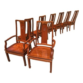 1980s Vintage Rosewood Dining Chairs - Set of 8 For Sale