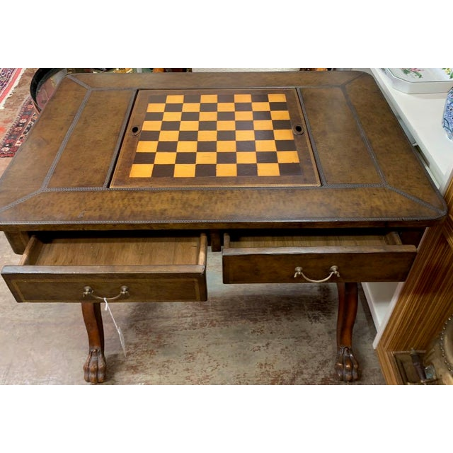 Brown Maitland-Smith Leather Game Table For Sale - Image 8 of 10