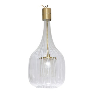 1970s Angelo Brotto Tulip Shaped Glass Pendant Chandelier For Sale