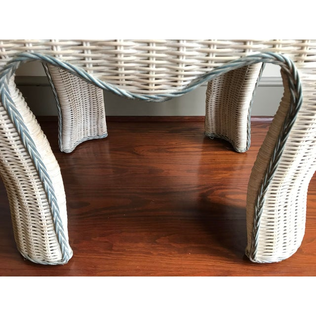 Wicker Boho Chic White Washed Wicker Side Table For Sale - Image 7 of 9