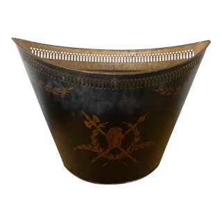 Antique Early 20th Century Black Tole Jardiniere/Cachepot For Sale