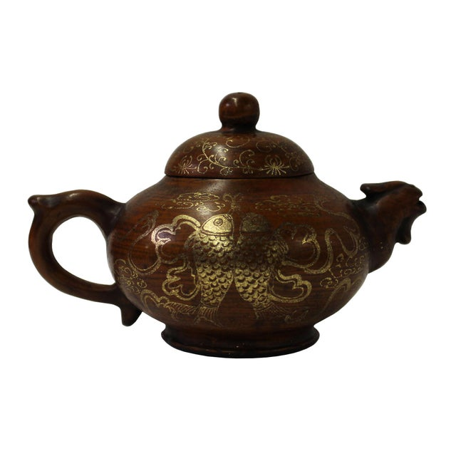 Chinese Zisha Clay Brown Golden Scenery Teapot Display For Sale - Image 4 of 8
