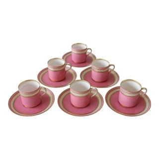 1950s Pink Staffordshire Porcelain Tea Cups - Service for 6 For Sale