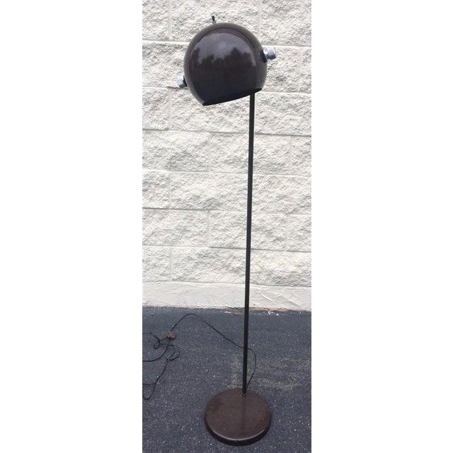 Mid Century Orb Lamp: Vintage Mid-Century Modern Chrome/Dark Brown Orb Floor
