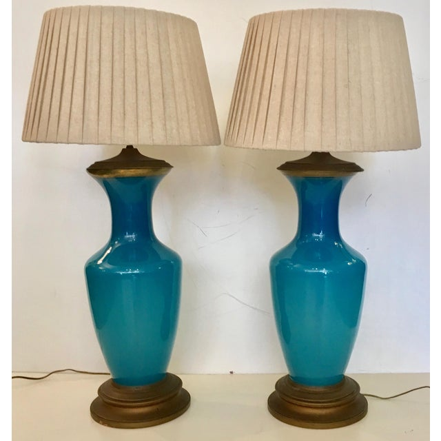 Vintage Turquoise Glass & Brass Table Lamps - a Pair - Image 3 of 6