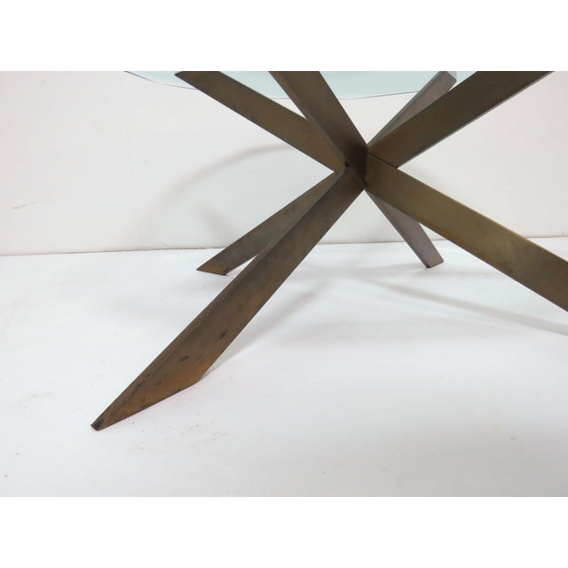 Metal Leon Rosen for Pace Bronze X-Form Coffee Table For Sale - Image 7 of 10