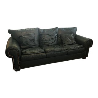 Hunter Green Leather Sofa For Sale