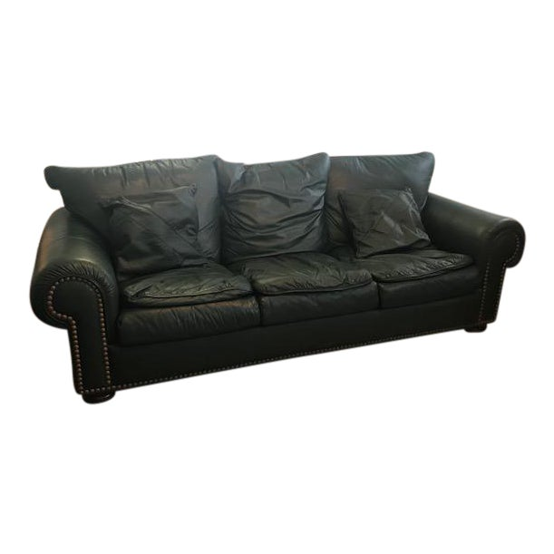 Hunter Green Leather Sofa Chairish