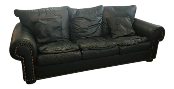 Charmant Hunter Green Leather Sofa For Sale