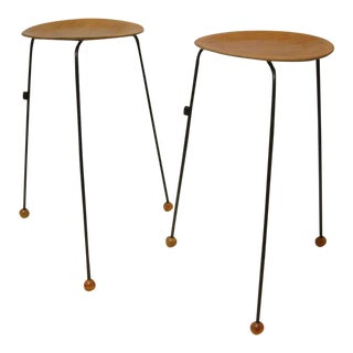 Tony Paul Tempo Group #800 Birch & Enameled Steel Stacking Tables - A Pair