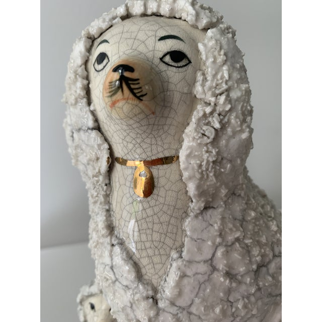 Vintage Staffordshire Poodles With Pups - a Pair For Sale - Image 4 of 11