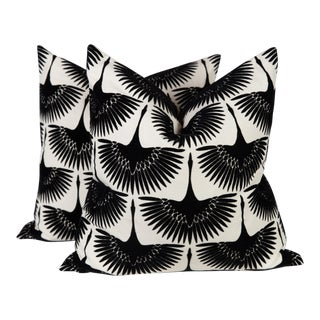 Black & Ivory Fan Bird Pillows, Pair