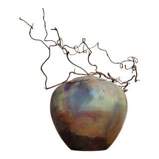 Artist Signed Raku Vase with Free Form Grapevine For Sale
