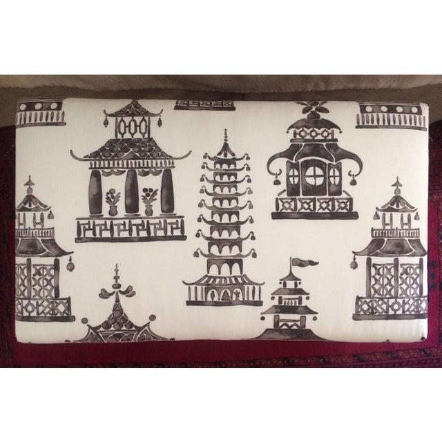 Decorative Ottoman with Pagoda Print - Image 6 of 6