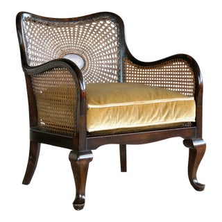 Danish Early 20th Century Caned Library Bergere Chair in Stained Birch